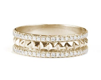 Double Eternity Diamond Band and a Gold Pyramids Layer - Unique diamond wedding ring. 14K Gold  0.30 ct