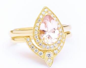 1.1 Carat Pear Morganite Diamond Halo Ring+Matching Side Band/3rd Eye Diamond Wedding Ring; Pink Morganite Bridal Set, Yellow Gold 18K