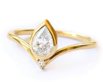 Pear diamond Bindi engagement ring, diamond wedding ring, bridal set