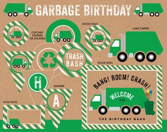 Garbage Birthday Party Printables, Garbage Truck Party Package, Trash Bash Decorations