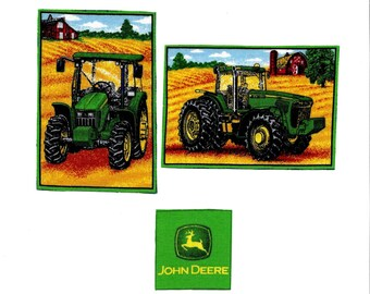 John Deere tractors fabric iron on applique patches DIY