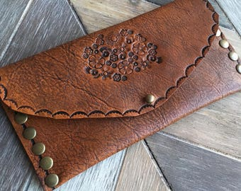 Leather floral wallet clutch