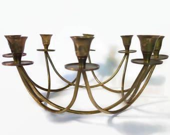 Retro Brass Centerpiece Candelabra, Vintage Brass Candle Holders, Brass Tulip Candle Centerpiece