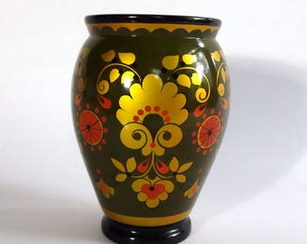 Vintage Lacquered Russian Vase, Khokhloma Soviet Folk Art Jar, Hand Painted Lacquered Wood, Olive Green Black