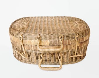 Antique Picnic Basket, Vintage Wicker Basket, Wedding Gift, Storage Basket, French Farmhouse