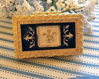 Vintage Corday Blue and White Enamel Solid Perfume Compact