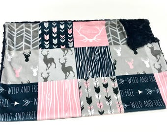 Pink and Navy Blue Deer Baby Girl Blanket - Minky Baby Blanket, Pink and Blue Woodland Baby Blanket, Ready to Ship Baby Blanket, Baby Gift