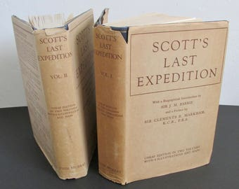 Scott's Last Expedition Volumes I & II Cheap Edition 1947 Reprint with Dust Jacket Publisher John Murray London