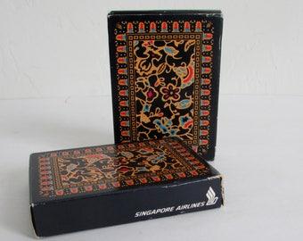 Singapore Airlines 2 Sealed Decks of Vintage Playing Cards Balmain Batik Design