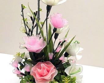 Handcrafted Artificial flowerArrangement,Craft Flowers, Nylon Flowers Décor, Nursery Décor, Wedding Décor, Nylon Flower, Handmade Flowers,