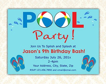 Pool Party Invites, Printable Splish Splash Summer Birthday Invitation, Swimming Pool Party Invites, Flip Flops, Boy Girl Party