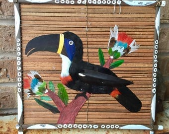 Quirky Toucan Wall Hanging, Made of Real Feathers
