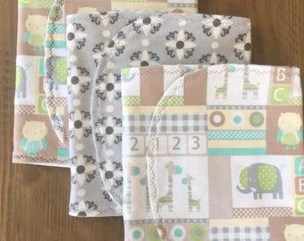 Cotton Baby Boy Girl Gender Neutral Burp Cloths - Set of 3 - Baby Shower Gift - Baby Gift
