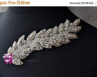 """ON SALE Crystal Rhinestone & Bead Leaf Applique 5.5"""" x 1.5"""" - DIY Wedding Bridal Sash Gown - Bridal Supplies Rhinestones Beading Headband Be"""