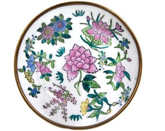 Vintage Floral Enamel on Brass Bowl Wall Decor Chinoiserie Dish Chinese Asian Porcelain Famille Verte Hand Painted