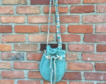 Aqua blue drawstring crochet purse