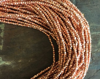 """Montevideo Bright Copper Small Cornerless Cube Beads (24"""" stand) - Copper Plated 3.3mm Spacers"""