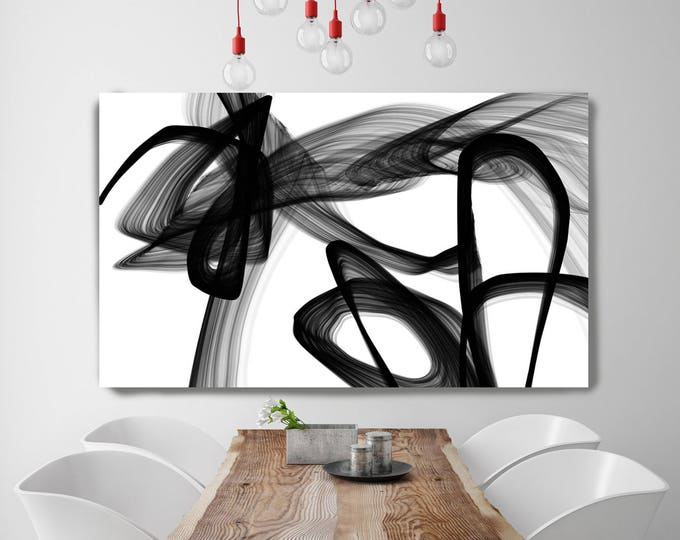 "Abstract Poetry in Black and White 110, Black and white wall art, Large Contemporary Canvas Art Print up to 72"" by Irena Orlov"
