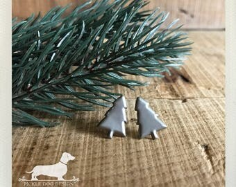 CLEARANCE! Christmas Tree. Post Earrings -- (Silver, Small, Vintage-Style, Cute, Stocking Stuffer, Black Friday Etsy, Cyber Monday Etsy)