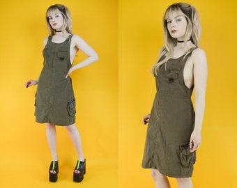 90s Army Green Cargo Pocket Mini Overall Dress S