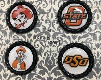 Oklahoma State University Inspired Bottle Cap Magnets