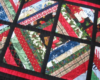 Quilted Table Runner, Scrappy Holiday String Blocks, FREE SHIPPING