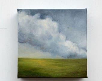 ON SALE Oil painting, landscape painting, cloud painting, home decor, wall art - Stormscape seventyfour