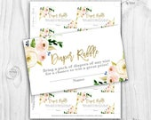 floral blush and gold Diaper Raffle cards, boho floral diaper raffle cards, rustic baby shower girl diaper raffle cards