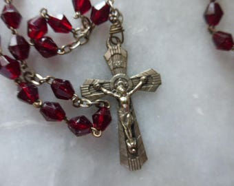 Vintage Cherry Red Glass Bead Rosary, Circa 1930's, Lourdes Souvenir.