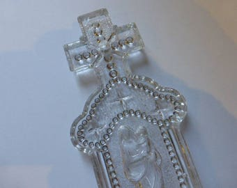 Antique Glass Benitier, Water Font,  French Circa 1880