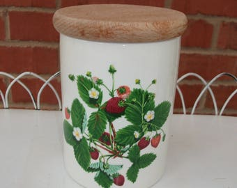 Portmeiron Summer Strawberries Storage Jar By Angharad  Menna14 x 10 cm - Immaculate Condition