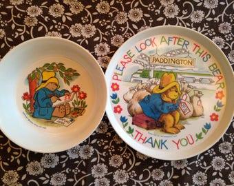 vintage paddington bear dinnerware set for child 1983