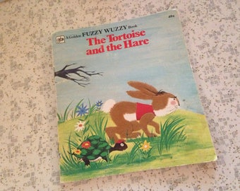 vintage the tortoise and the hare aesop's fable little golden fuzzy wuzzy book