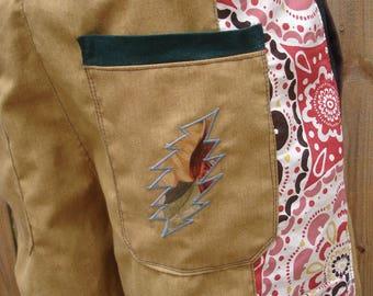 mens patchwork Dude Shorts mustard khaki hippie pocket 30 32 34 36 38 40 festival burner mandala earthy
