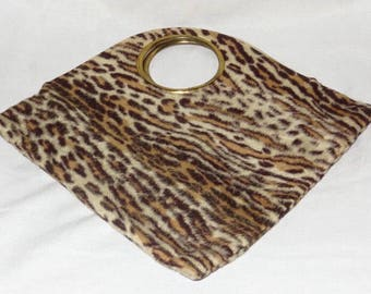 Vintage 1960's Faux Fur Leopard Purse Gold Round Cutout Handle