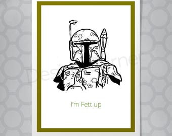 Funny Illustrated Star Wars Boba Fett Card