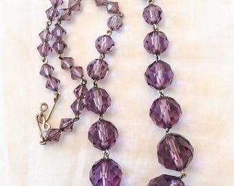 Amethyst Glass Necklace Art Deco Vintage Jewelry. SUMMER SALE