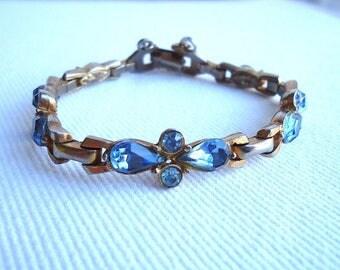 Barclay Blue Glass Bracelet Vintage Jewelry SUMMER SALE