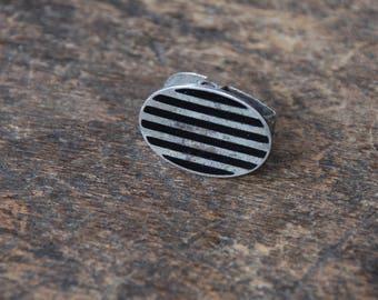 Vintage Art Deco Oval Lingerie Clip Tie Clip Dress Clip F & B Sterling Silver Black Onyx Inlay 1920's // Vintage Sterling Silver Jewelry