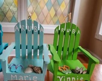 Vacation Memorabilia Adirondack Chair Ornament! Custom made to recognize your Vacation! Coastal decor, coastal Christmas, Nautical Decor