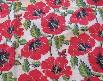 vintage FULL feed sack fabric -- red poppies floral print