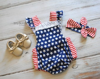Fourth of July Outfit - Patriotic Outfit - Independence Day Romper - Stars and Stripes Romper - Memorial Day Romper - American Flag Romper