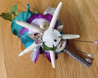 For Jasmine Turquoise Beach Groom's Seashell Rose and Starfish Boutonniere with lots of Tiny Seashells Purple and Silver Trim