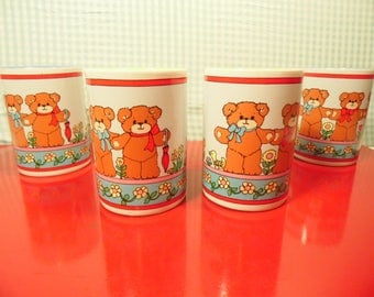 Vintage 4 Ceramic Children's Teddy Bear Glasses  - Enesco -  Lucy Rigg