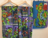 Teenage Mutant Ninja Turtles, TMNT twin bed set, Vintage Bed Sheet, Vintage Bedding