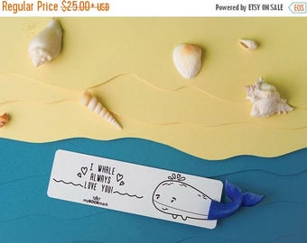 CHRISTMAS IN JULY -20% // Whale bookmark // Blue Whale unusual gift for mother // Back to school gift for student, teacher //