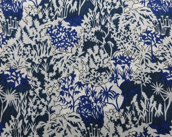 SALE/LIBERTY Of LONDON Tana Lawn Cotton Fabric  'Paper Garden' Dark Blue Fat Quarter 18 X 26 in