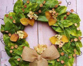 Magnolia Wreath-Fall Wreath-Year Round Wreath-Fixer Upper Wreath-Magnolia Door Wreath-Farmhouse Wreath-MAGNOLIA HYDRANGEA Door Wreath-Wreath