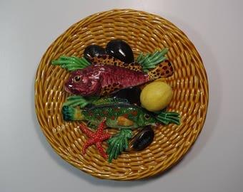 Vintage Mural Plate Trompe L'oeil Palissy Majolica Barbotine Fish Shell Lemon