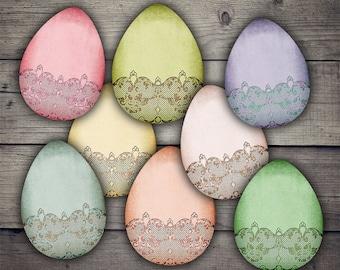 Easter Eggs Clipart - Digital Collage Sheet Printables